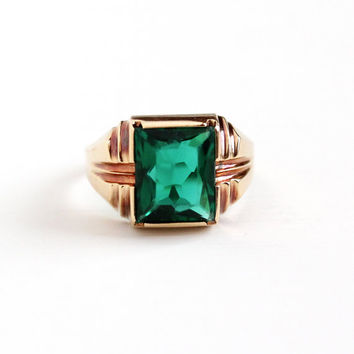 Vintage 10k Rose Gold Men's Simulated Emerald Ring - Size 11 1/4 Retro Dated 4-5-53 Dark Green Glass Stone Statement May Birthstone Jewelry