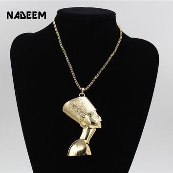 New Arrival Ancient ANKH Egyptian Horus Eye Flamen Pendant Cross Neckalce Gold Color Metal HipHop Chain Charm Necklace Jewelry