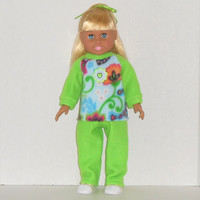 18 inch Doll Green and Blue Sweatsuit with Flowers fits American Girl Doll