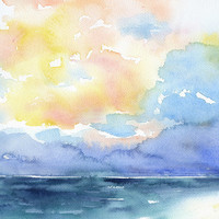 Ocean Watercolor Painting - 4 x 6 - Giclee Print - Wall Art - Colorful Stormy Sky Painting - Beach