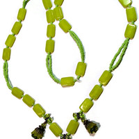 Green Flower Charms  Necklace - Chartreuse Bead Accents - Green Color Seed Beads