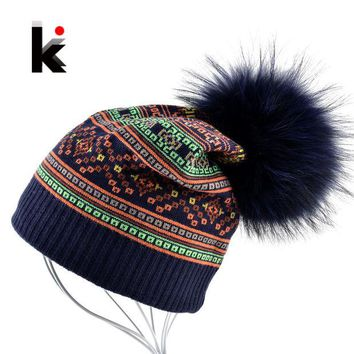 ONETOW Autumn Winter Beanie Fur Hat Knitted Wool Cap With Raccoon Fur Pompom Skullies Caps Ladies Knit Winter Hats For Women Beanies