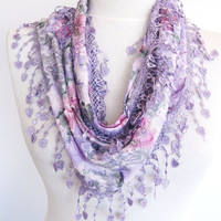 ON SALE Lilac Patterned Cotton Scarf With Heart Lace, Gift, Headband, Cowl, Women