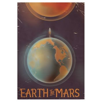 Earth to Mars vintage Science fiction poster Wood Poster
