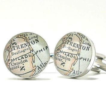 Philadelphia Pennsylvania Antique Map Cufflinks