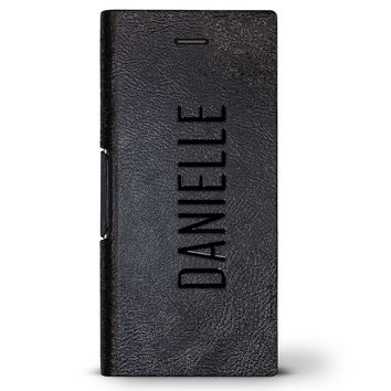 Danielle, Modern Font First Name | Leather Series case for iPhone 8/7/6/6s in Hickory Black
