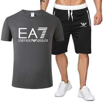 Emporio Armani Fashion New Letter Print Sports Leisure Top And Shorts Two Piece Suit Men Dark Gray