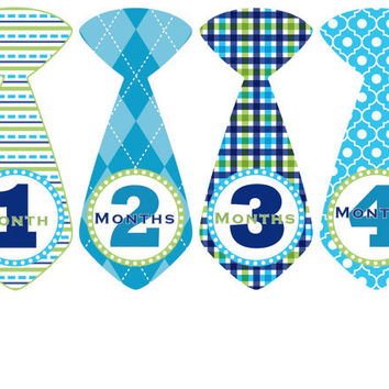Monthly Onesuit Stickers Baby Boy Month Stickers Blue Tie Onesuit Stickers Boy Monthly Onesuits Stickers Baby Shower Gift Photo Prop Cameron2