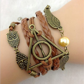 Woman Leather Double Infinite Bracelets Braided Vintage Owl Wings Infinity Bracelet
