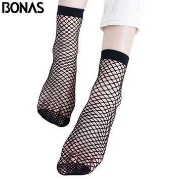 BONAS Cheap Fishnet Short Socks Women Summer Invisible Black Nylon Mesh Socks Female Solid Color Transparent Woman Socks