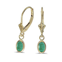 14k Yellow Gold Emerald Bezel Set Leverback Earrings