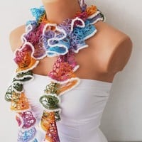 Colorful Ruffle Funky Scarf with White Edge | Missglory - Accessories on ArtFire