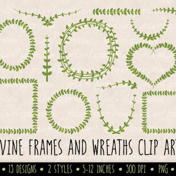 SALE - 20% OFF. Digital Leaf Vine Frames Clip Art. Green Laurel Wreath Clip Art. Vine Frames and Borders. Weddings, Cards and Scrapbooking.