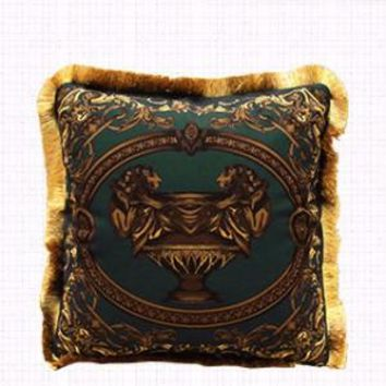 """Dark Green Relief Pillow Embellished With Trim 20""""X20"""""""