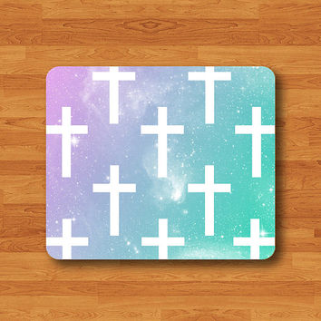 Pastel Galaxy Geometric White Cross Christian Art Mouse Pad Vintage Natural Soft Fabric Rubber MousePad Desk Deco Work Gift Christmas Gift