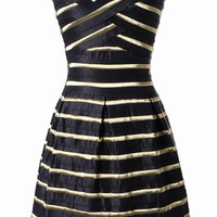 Black Stripe Bandage Strapless Dress
