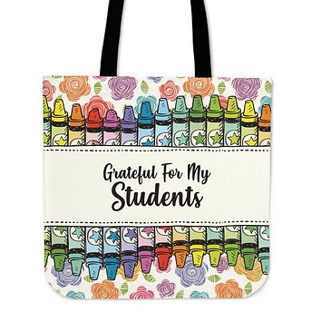 Grateful Teacher Linen Tote Bag