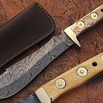 WHITE DEER MAGNUM Damascus Steel Handmade Hunting Knife w Authentic Buffalo Bone Handle