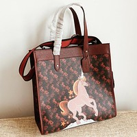 COACH New fashion horse car print leather shoulder bag crossbody bag handbag