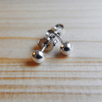 Sterling Silver Ball Stud Earrings, Minimalist Jewelry Small Tiny Little Simple Everyday Post Made to Order Gift for Her Stocking Stuffer