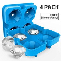 4 Pack Diamond-Shaped Silicone Ice Cube Trays with Lids, BPA-Free Stackable Easy Release Ice Molds Multifunctional Storage Containers for Ice, Whiskey, Candy and Chocolate (Blue-4Pack)