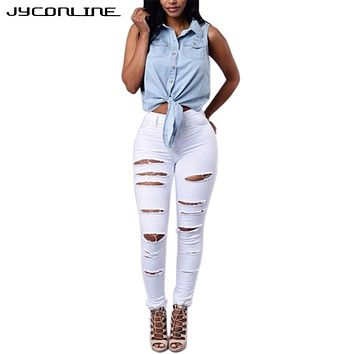 Hollow Out Jeans Woman 2017 High Waist Jeans Female Hole Elastic Plus Size Ripped Jeans For Women Vintage Skinny Pencil Pants