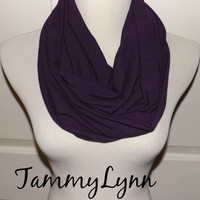Purple Eggplant Cotton Spandex Infinity Scarf Cotton Jersey Knit Women's Accessories