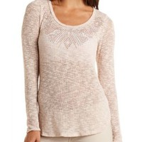 Rhinestone-Embellished Sweater Knit Top by Charlotte Russe