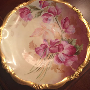 Rare Elite Limoges Antique Hand Painted and Signed floral Plate with Gold Trim. Elite Limoges France, Artist signed.