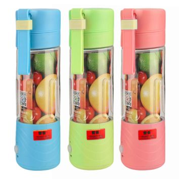 2017 New Fashion and Portable Juicer Cup Rechargeable Battery Juice Blender 380ml USB Juicer