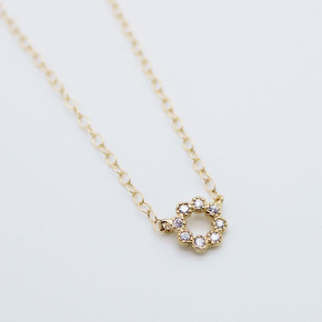 Circle with rhinestones necklace