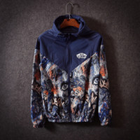 Vans Off The Wall Print Long  Sleeve Unisex Windbreaker Coat