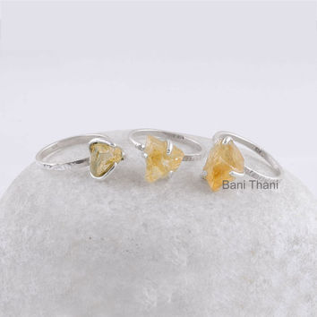 Hammered Ring, Yellow Citrine 6x9mm Raw Gemstone Stackable Ring 925 Sterling Silver Ring - #8106