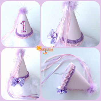 Birthday Hat, First Birthday Hat, 1st Baby Birthday Hat, Party Hat, Costume Hat, Princess Hat, Girl Hat, Lace Hat