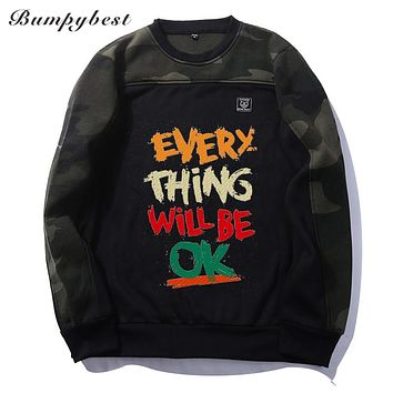 Patchwork Pullover letter print Camouflage Sweatshirts Male O-Neck Slim Knitting Men Hoodies