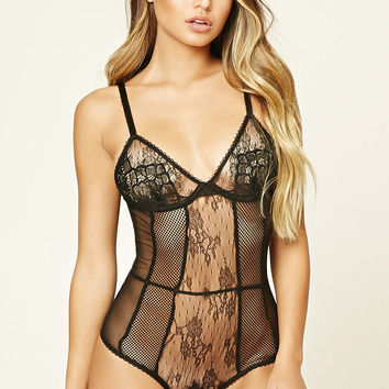 Semi-Sheer Floral Lace Bodysuit