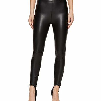 Blank NYC Vegan Leather Pull-On Stirrup Leggings in Black Mail