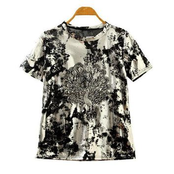 Summer Korean Stylish Lace Embroidery Peacock Vintage Silver Short Sleeve T Shirts [4919412292]