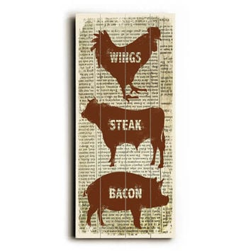 Wings Steak Bacon by Artist Misty Diller Wood Sign