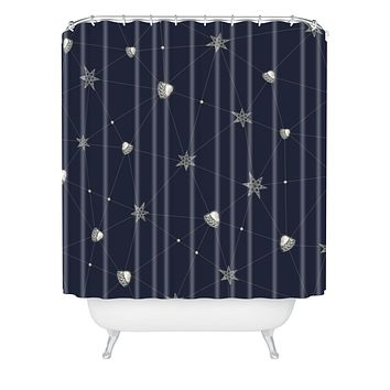 Belle13 Love Constellation Shower Curtain