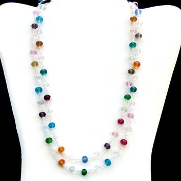 Sparkling Crystal Glass Necklace, Extra Long Multi Tiered Necklace, Wrap Layered Double Strand, Rainbow Multicolored OOAK Handmade Unique