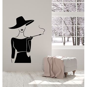 Vinyl Wall Decal Retro Lady In Dress Hat With Cigarette Smoking Stickers (3512ig)