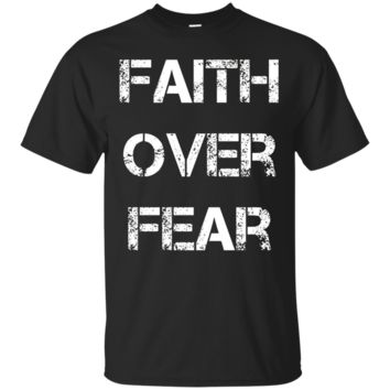 Faith over Fear Men's Stencil letters Inspirational T shirt_Black