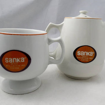 Vintage Sanka Coffee Pot and Cup - Hall China - Retro Restaurant Ware - 1960s Mid Century Tableware, Decaffeinated Coffee Set,