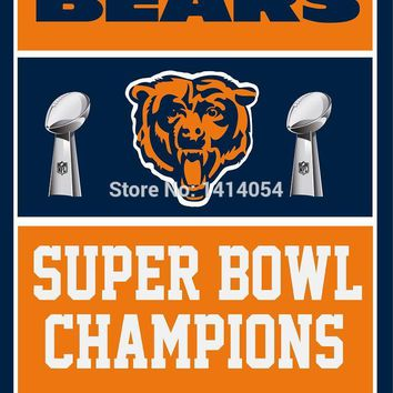 Chicago Bears  Super Bowl Champions Flag  Banner  3x5 FT