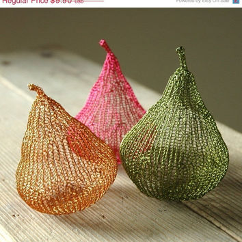 SALE - Wire crochet PDF pattern unique wire pears home decoration unique DIY project wire sculpture tutorial