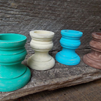 5 Distressed Wood Candle Holders Taper Candle Holder Wood Candlestick Holder Painted Wood Candle Cup Small Candle Holder
