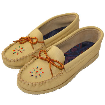 Women's Rubber Sole Cowhide Leather Moccasins - Deer Tan