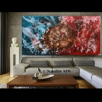 Watercolor Abstract painting Modern red, Blue canvas art Large painting wall art, Original watercolor wall decor -Nandita 182.88/ 91.44cm