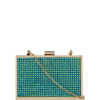 Green Embellished Holographic Box Clutch